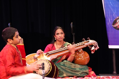 Suraj Srinivasan is on the mrdangam and Indu Velayudhan is on the veena