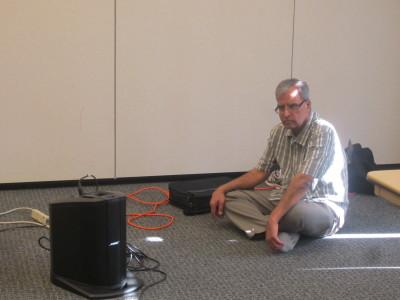 Ravi monitors the sound system